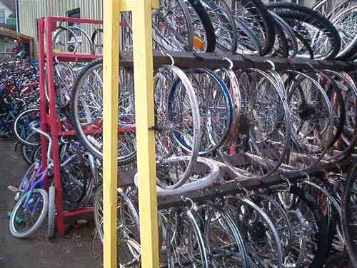 Wheels organized in racks