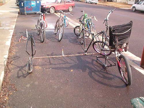 Bicycle Parking Rack made from Old Frames