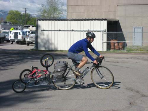Simon carts bikes 50 miles to a school in Ovando- by bike!