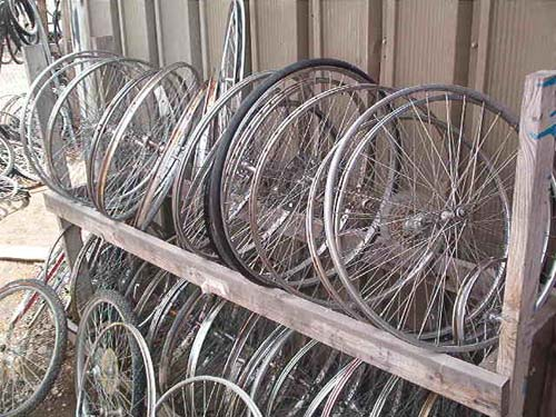 Waiting Bicycle Wheels